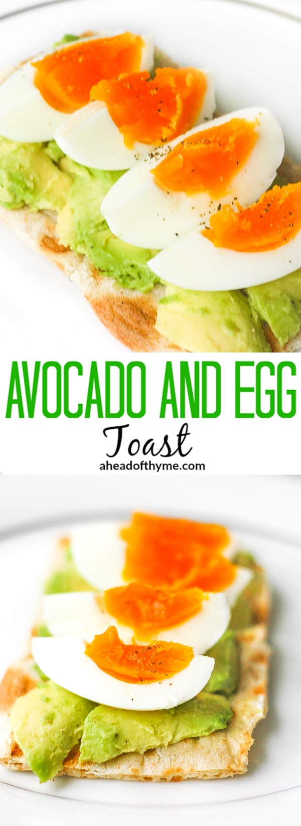 Avocado and Egg Toast: Don't have a lot of time for breakfast? Try this quick and easy recipe for a delicious and healthy breakfast | aheadofthyme.com