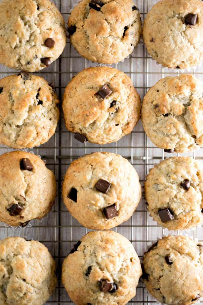 Fluffy soft and moist, these are the best banana chocolate chip muffins ever. Prep this easy one bowl recipe in less than 10 minutes with a few ingredients. | aheadofthyme.com