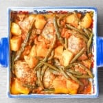 Chicken Thighs with Green Beans and Potatoes in Tomato Sauce: Budget-friendly chicken thighs make for a delicious dinner packed with flavour in this Middle Eastern inspired dish | aheadofthyme.com
