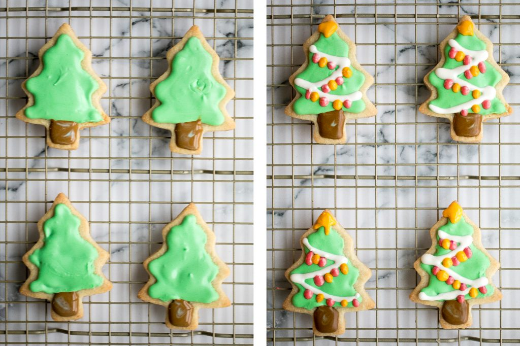 Christmas sugar cookies with royal icing are golden brown and crisp on the outside, but soft and tender inside. The best and festive gourmet holiday cookie. | aheadofthyme.com