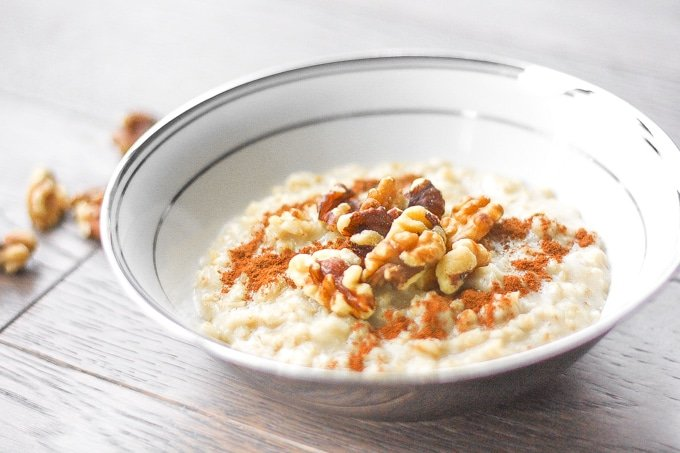 Cinnamon and Walnut Porridge: The ultimate wholesome breakfast. This creamy, rich and cozy porridge is perfect to warm you up this time of year | aheadofthyme.com