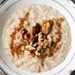 The ultimate wholesome breakfast. This creamy, rich and cozy cinnamon and walnut porridge is perfect to warm you up this time of year | aheadofthyme.com