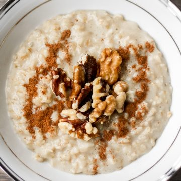 The ultimate wholesome breakfast. This creamy, rich and cozy cinnamon and walnut porridge is perfect to warm you up this time of year   aheadofthyme.com