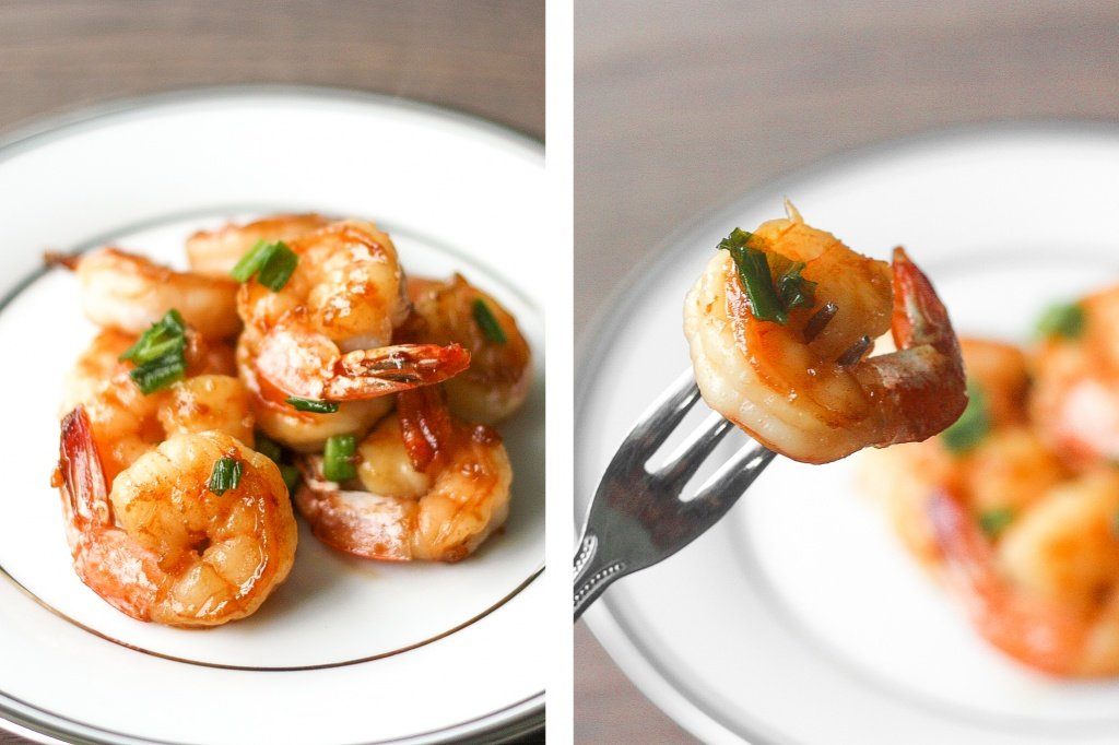 Quick and easy, pan-fried garlic prawns with soy sauce, garlic, and green onions is a simple but flavourful Chinese stir-fry made in under 15 minutes. | aheadofthyme.com