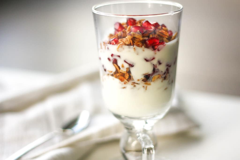 Fruit and Yogurt Parfait with Granola: Layer fresh fruits, creamy yogurt and crunchy granola for a delicious and healthy breakfast or a simple dessert | aheadofthyme.com