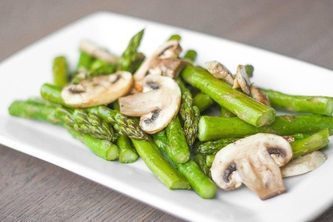 Roasted Garlic Asparagus And Mushrooms Ahead Of Thyme