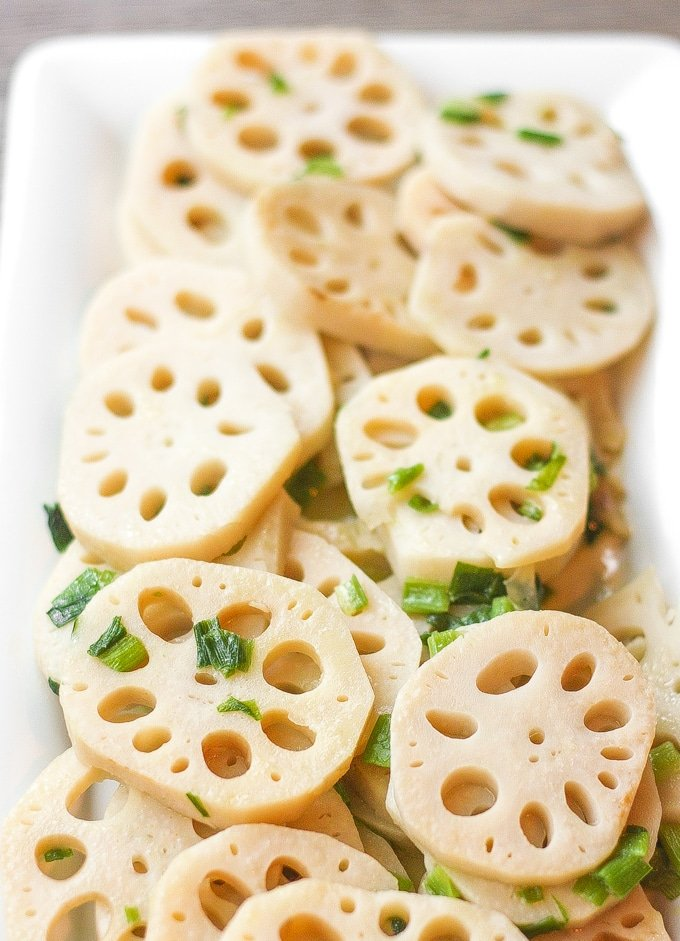 Stir-fried Lotus Root with Green Onions: This classic Chinese stir fry dish makes for an excellent vegan side dish at your dinner table   aheadofthyme.com