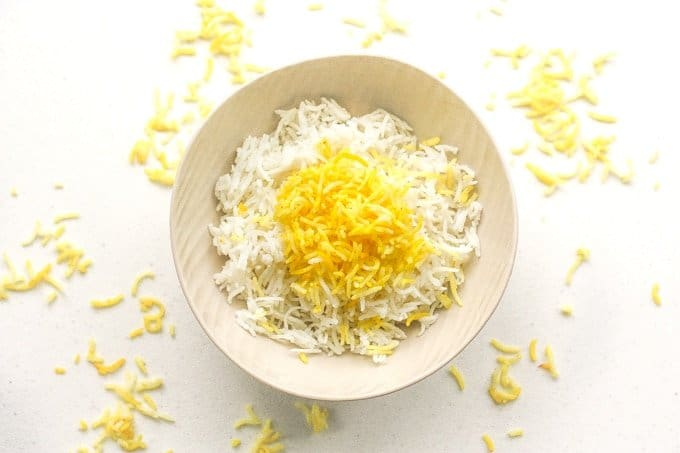 Basmati Rice with Saffron: Basmati rice with saffron is an essential side in Middle Eastern diets. Make it in 15 minutes with this easy-to-follow recipe | aheadofthyme.com