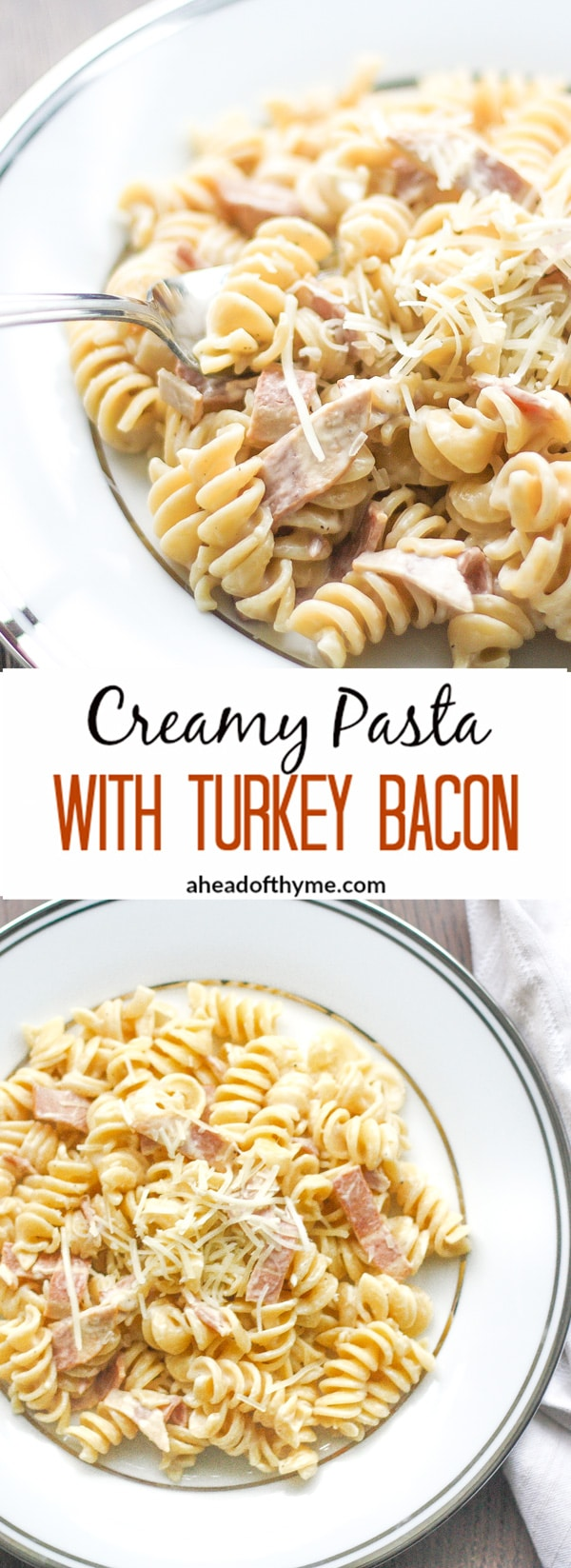 Creamy Pasta with Turkey Bacon: This delicious, smooth and creamy pasta is loaded with cheese and turkey bacon to yield the ultimate comfort food | aheadofthyme.com