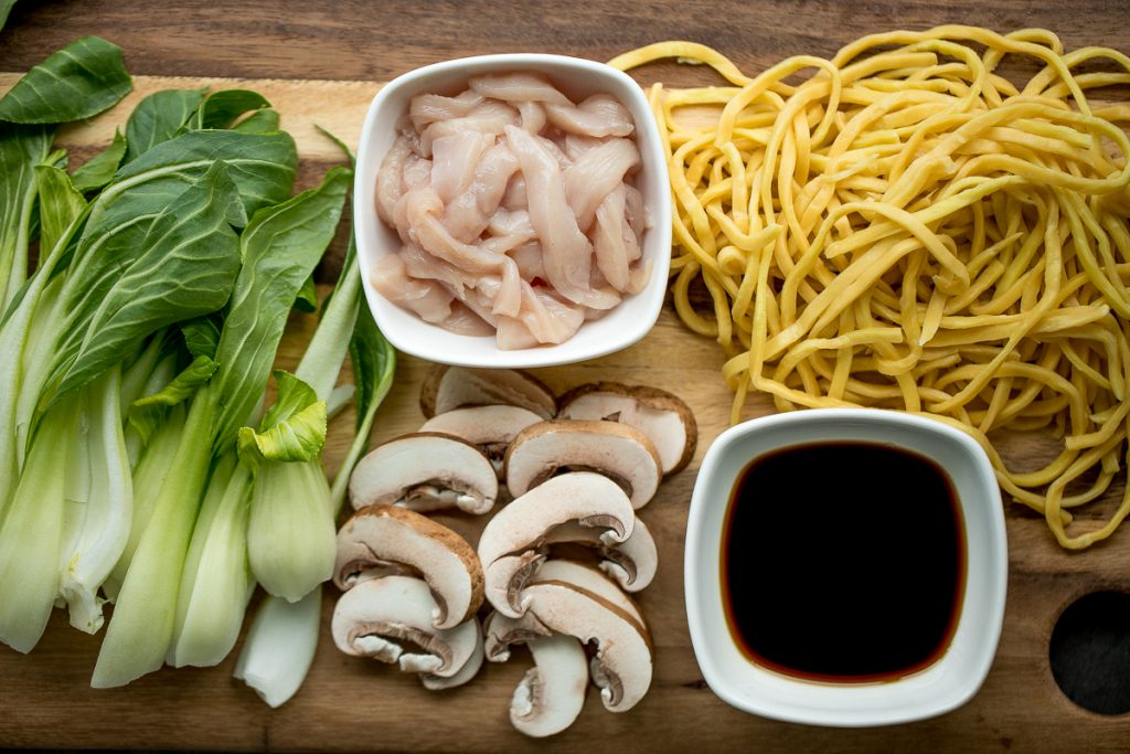 Better than take-out, flavourful and authentic Shanghai fried noodles with chicken, mushrooms, and bok choy is made in just 10 minutes - the easiest dinner! | aheadofthyme.com