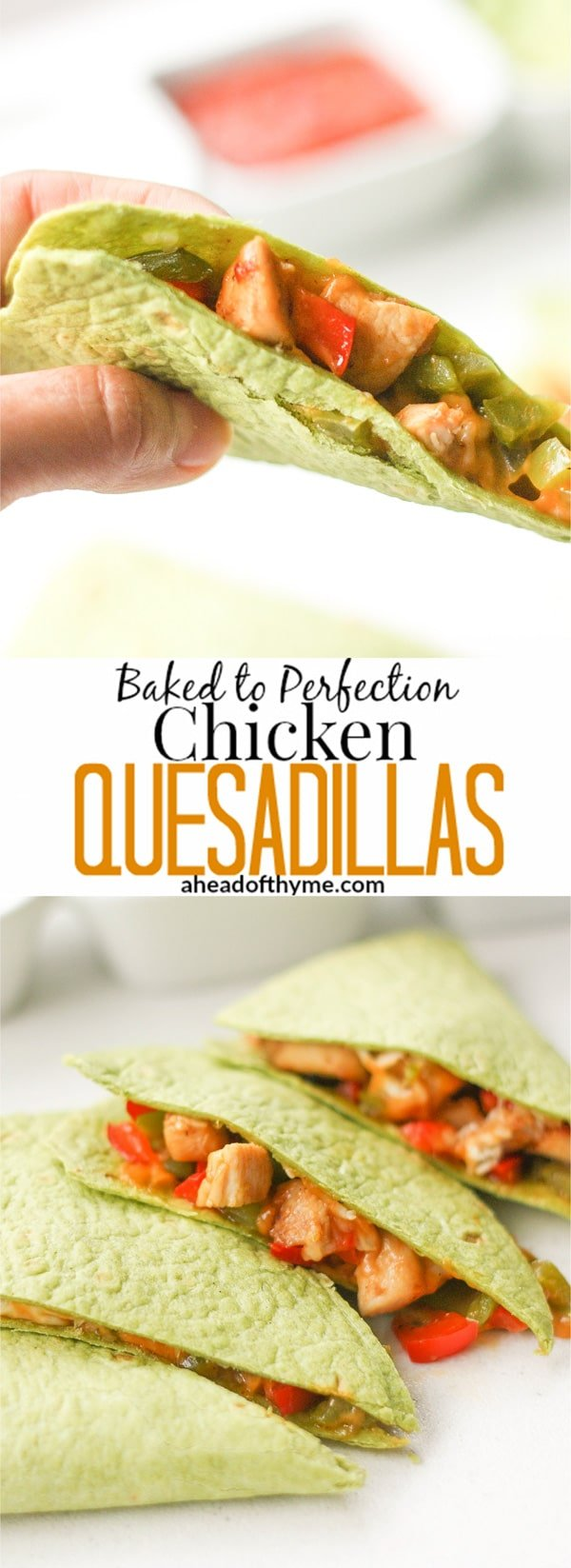 Baked to Perfection Chicken Quesadillas: So quick and easy to make, these quesadillas will become a go-to recipe that you and your kids will love | aheadofthyme.com