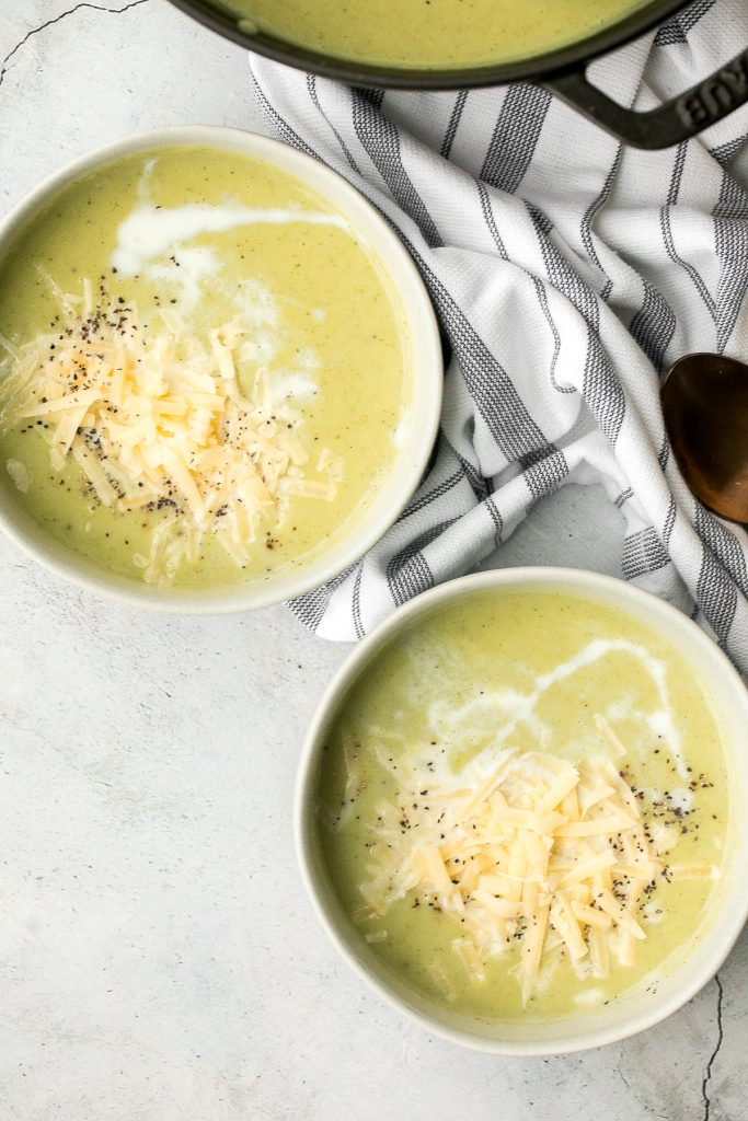 Delicious and flavourful, light cream of broccoli soup is a silky smooth, creamy, and thick soup made healthier with no cream. Make it in under 25 minutes. | aheadofthyme.com