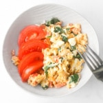 Mediterranean Scrambled Eggs with Spinach, Tomato and Feta: Got a few minutes? Spiff up your breakfast and make it interesting with this delicious Mediterranean scramble | aheadofthyme.com