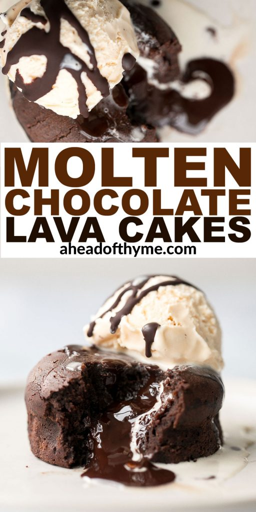 Molten chocolate lava cakes are rich and fudgy with a classic gooey chocolate center that flows out like lava. So simple and easy to make. | aheadofthyme.com