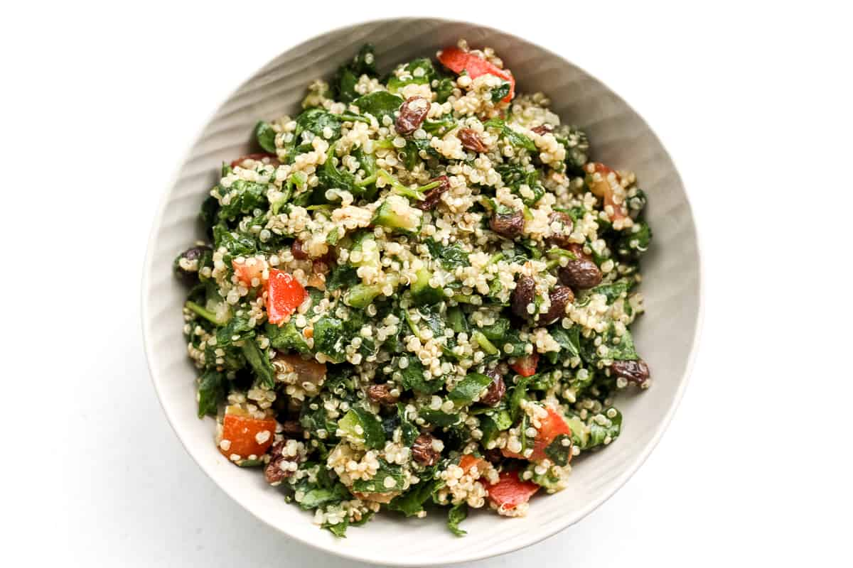 Quinoa Spinach Power Salad With Lemon Vinaigrette Ahead Of Thyme
