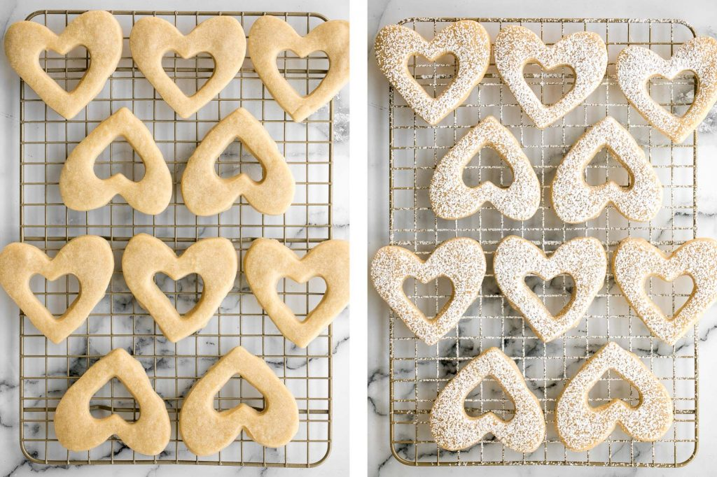 Cute raspberry and white chocolate heart-shaped shortbread cookies literally melt in your mouth. They are the perfect Valentine's Day treat. | aheadofthyme.com