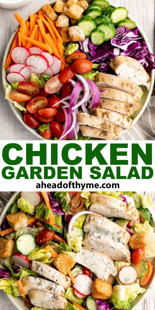 Chicken garden salad with ranch dressing is fresh, healthy, hearty, and colorful. It's a filling and wholesome lunch or dinner that is versatile too. | aheadofthyme.com