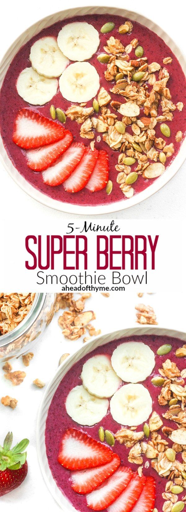 5-Minute Super Berry Smoothie Bowl: Quick and easy, 5-minute super berry smoothie bowl is loaded with strawberries, raspberries, blueberries and banana and topped with customizable toppings | aheadofthyme.com