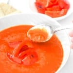 Roasted Red Pepper and Tomato Soup: It's easy to make gourmet soups at home. Spice up your soup regime today with this roasted red pepper and tomato soup | aheadofthyme.com