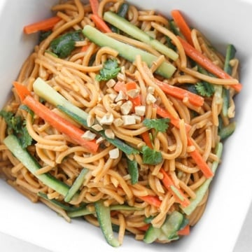 Asian Cold Noodle Salad: Nothing screams summer more than a crispy, crunchy, Asian cold noodle salad infused with a refreshing peanut, cilantro and lime dressing   aheadofthyme.com