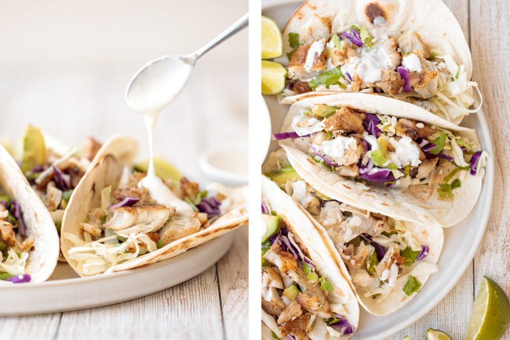 Flavourful, easy fish tacos with lime crema is made with seasoned white fish, cabbage slaw, and lime sauce. It takes less than 25 minutes to prep and serve. | aheadofthyme.com