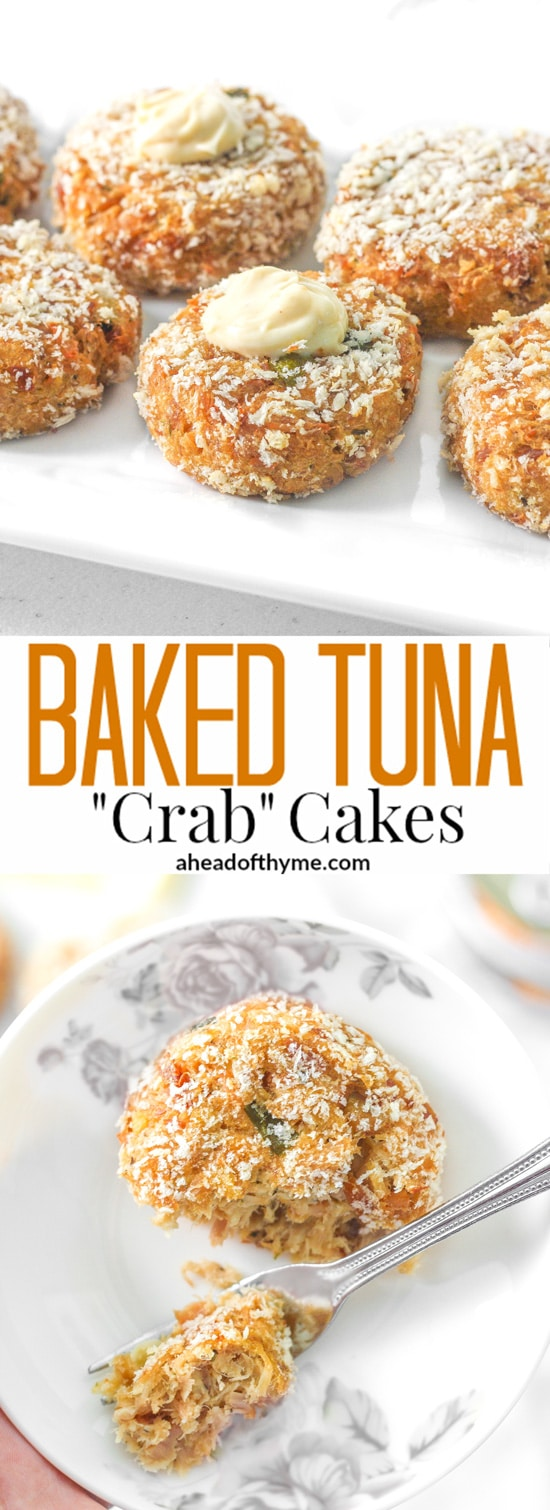 "Baked Tuna ""Crab"" Cakes: Craving crab cakes? Make baked tuna ""crab"" cakes instead for a quick, easy, and cheaper meal option that tastes just as good! 