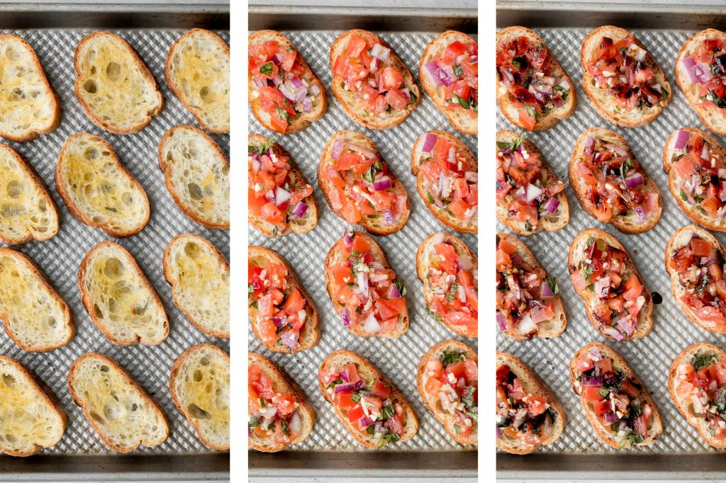 Tomato Bruschetta With Balsamic Glaze Ahead Of Thyme