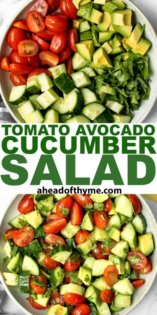Simple tomato cucumber avocado salad with a delicious lemon vinaigrette is a light and refreshing salad that comes together in literally 5 minutes. | aheadofthyme.com