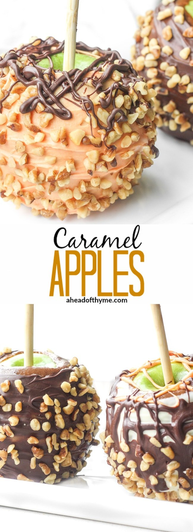 Caramel Apples: Nothing says Halloween better than a classic and traditional fall treat. Learn how to make your own homemade caramel apples today! | aheadofthyme.com