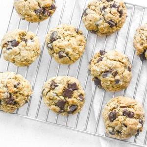 The Best Chewy Chocolate Chip Oatmeal Cookies: Grab a tall glass of milk and start dipping the best homemade, soft-centered, chewy chocolate chip oatmeal cookies you will ever try! | aheadofthyme.com