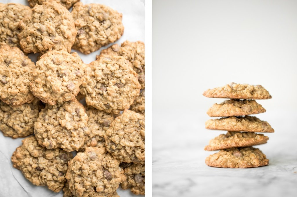 Grab a tall glass of milk and start dipping the best homemade, soft-centered, chewy chocolate chip oatmeal cookies you will ever try! | aheadofthyme.com