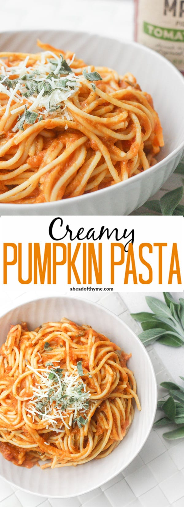 Creamy Pumpkin Pasta: The perfect weeknight meal is born this fall when pumpkin, tomato sauce and sage come together to create a delicious, creamy pumpkin pasta! | aheadofthyme.com