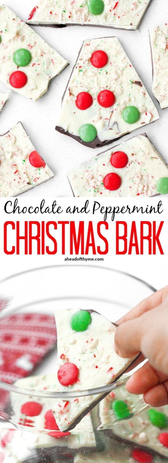 Chocolate and Peppermint Christmas Bark: Chocolate and peppermint Christmas bark is the perfect treat this holiday season to enjoy with your family and friends. | aheadofthyme.com