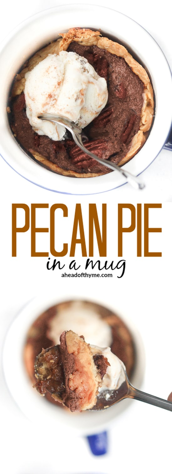 Pecan Pie in a Mug: In the mood for good old-fashioned pecan pie, but you don't want to make a whole pie? Satisfy your craving and make pecan pie in a mug instead! | aheadofthyme.com