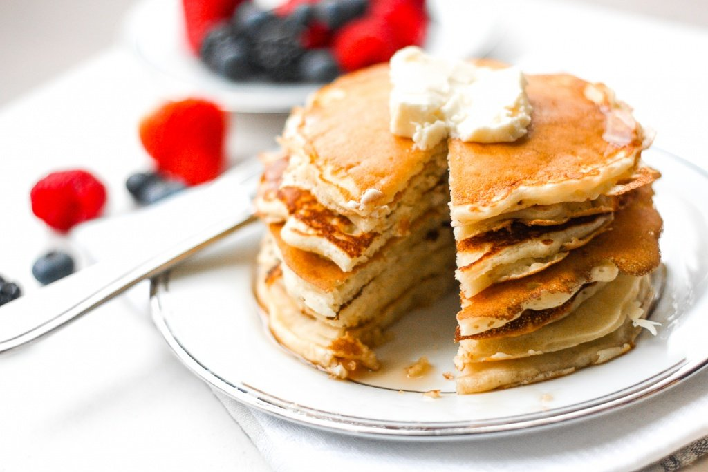 No breakfast spread is complete without a stack of the best, soft and fluffiest old fashioned pancakes. Easy to make in less than 15 minutes! | aheadofthyme.com