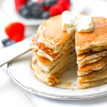 The Best Old Fashioned Pancakes: No brunch spread is complete without a batch of the best and fluffiest old fashioned pancakes! | aheadofthyme.com