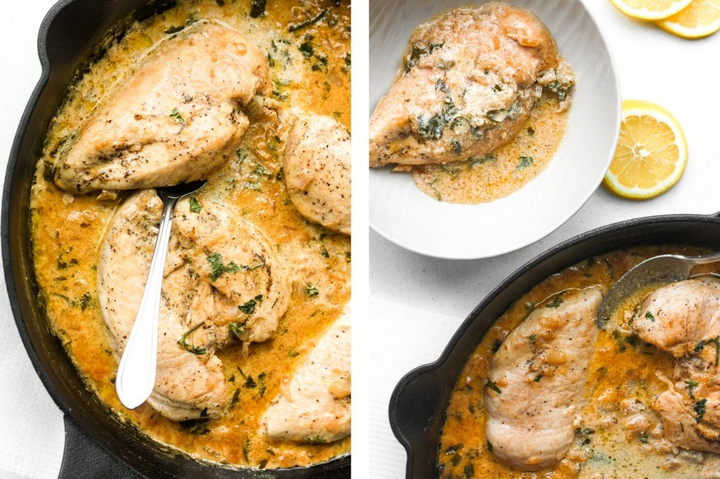 Delicious creamy skillet chicken with lemon garlic sauce is a one-skillet meal that is ready in 30 minutes. It's garlicky, saucy, creamy, and so flavourful. | aheadofthyme.com