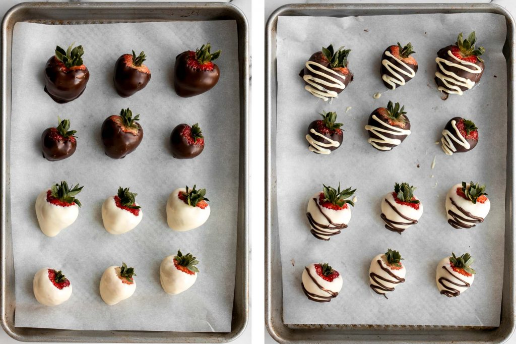 Chocolate covered strawberries are fancy, decadent, bite-sized treats that are loved by all. They are so simple and easy to make at home. | aheadofthyme.com