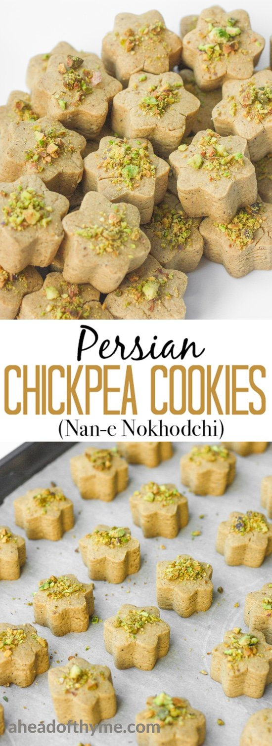 Persian Chickpea Cookies with Pistachio (Nan-e Nokhodchi) is a crumbly, melt-in-your-mouth cookie, made with the fragrant flavours of rose water, cardamom and pistachio. | aheadofthyme.com