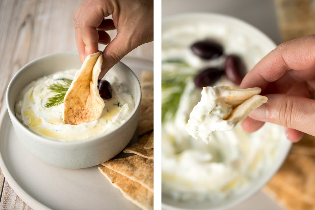 Light and fresh, easy tzatziki sauce is a creamy yogurt cucumber dip packed with fresh cucumbers, garlic, dill, lemon juice and olive oil. So easy to make. | aheadofthyme.com