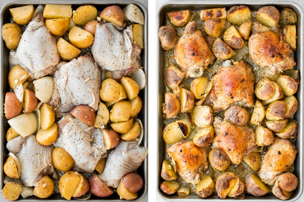 One pan garlic roasted chicken and baby potatoes is an easy to make, delicious, and wholesome meal for the entire family. Prep this sheet pan in 10 minutes. | aheadofthyme.com