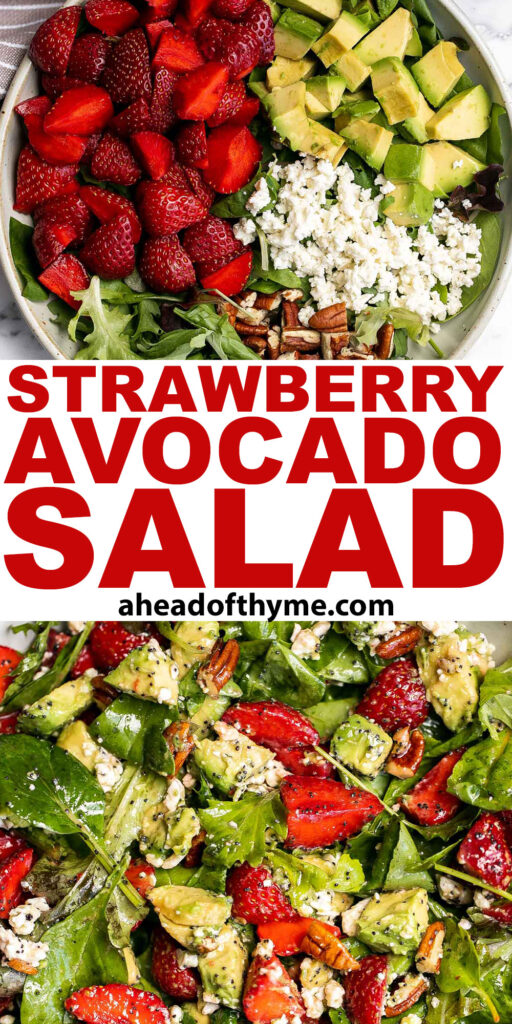 Loaded with fresh ingredients, strawberry avocado salad with poppy seed dressing is the ultimate summer salad -- light, vibrant, fresh, sweet, and tangy. | aheadofthyme.com