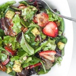 Strawberry avocado salad with poppy seed dressing is a must-try, bursting with flavour, summer salad that is quick and easy to make. | aheadofthyme.com
