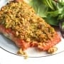 Pistachio-crusted salmon is a gourmet dinner without the gourmet skills! Prepare this with a handful of ingredients in less than 20 minutes! | aheadofthyme.com