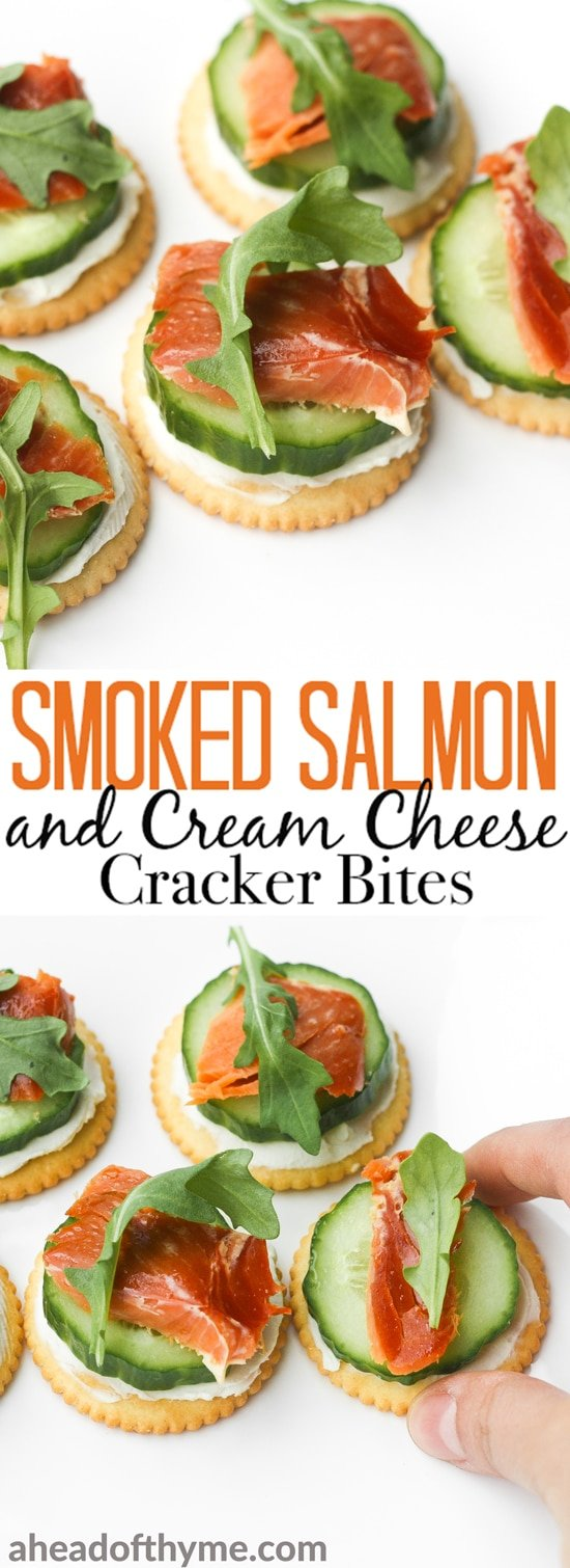 Smoked salmon and cream cheese cracker bites are topped with cucumber and argula to make the perfect bite-size snacks. | aheadofthyme.com