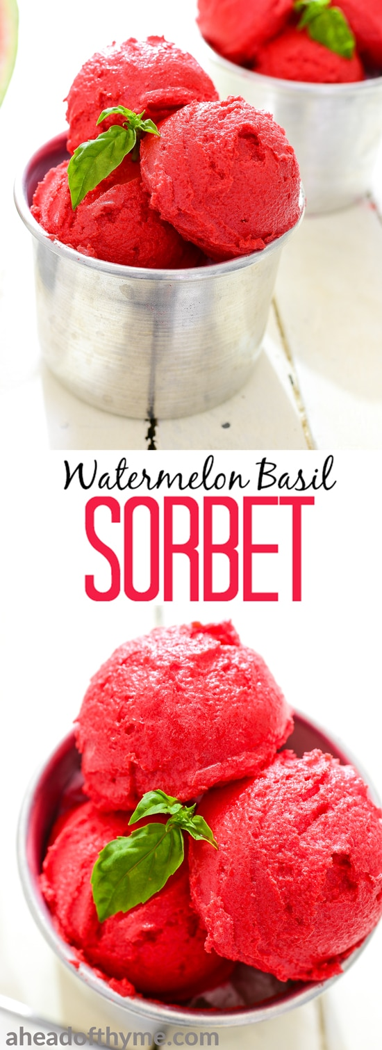 Beat the heat with watermelon basil sorbet. It is healthy, refreshing, and easy to prepare! | aheadofthyme.com
