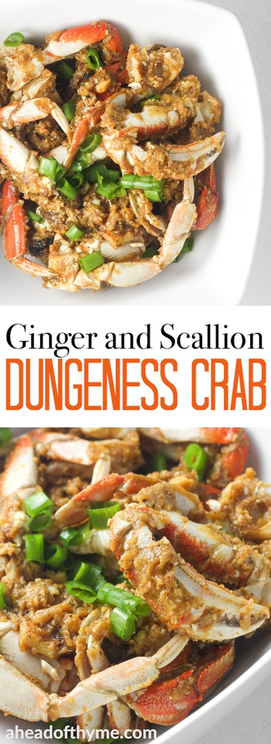Ginger and scallion Dungeness crab is the ultimate Asian seafood experience stir-fried to perfection and coated with intense flavours. | aheadofthyme.com