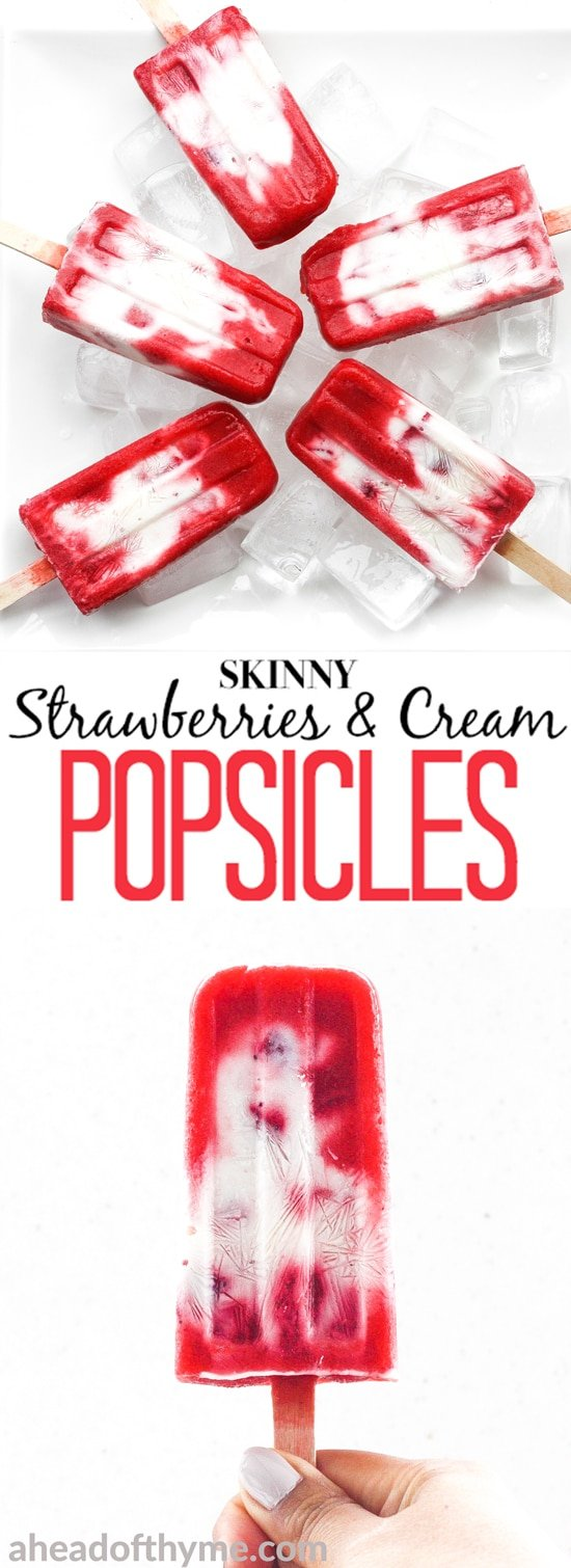 It is time to say good-bye to the store-bought stuff and make skinny strawberries and cream popsicles at home using fresh fruit and Greek yogurt! | aheadofthyme.com