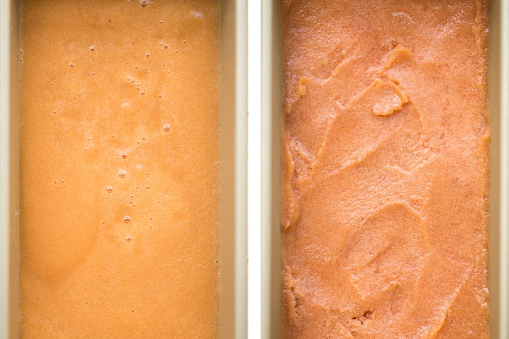 Smooth, sweet and refreshing 3-ingredient peach sorbet can be made with just a few minutes prep and without an ice cream maker! It's dairy-free and vegan. | aheadofthyme.com