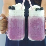 Looking for the perfect summer treat? Blend together fresh berries and ice cream to make creamy, quick and easy, 5-minute blackberry milkshake at home! | aheadofthyme.com